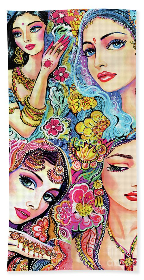 Bollywood Dancer Hand Towel featuring the painting Glamorous India by Eva Campbell
