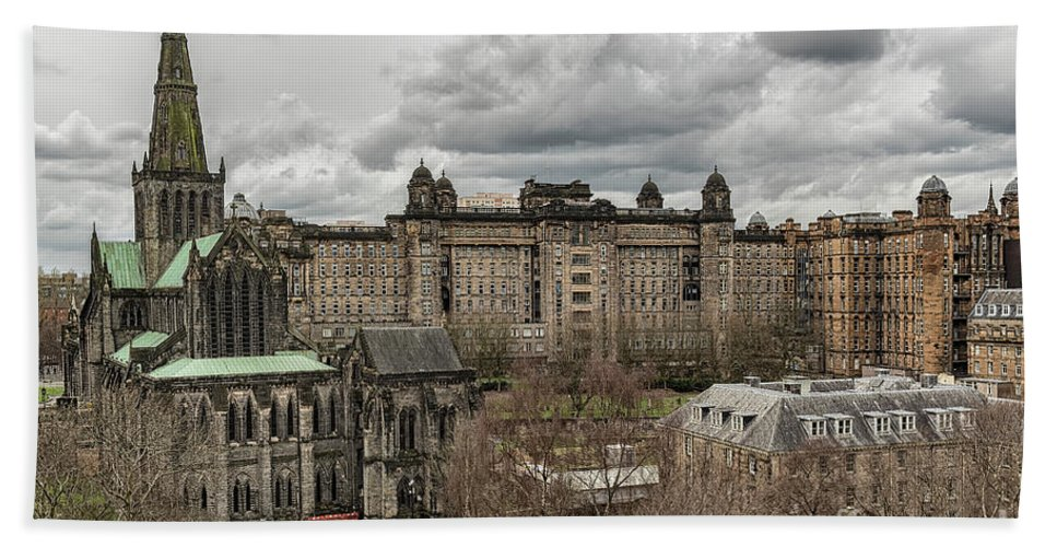 Glasgow Bath Sheet featuring the photograph Glasgow Cathedral And Victoria Infirmary by Antony McAulay