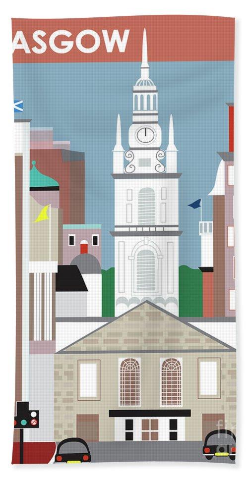 Glasgow Bath Sheet featuring the digital art Glasgow Scotland Vertical Scene by Karen Young