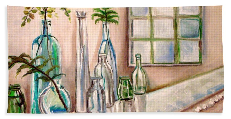 Glass Hand Towel featuring the painting Glass And Ferns by Elizabeth Robinette Tyndall