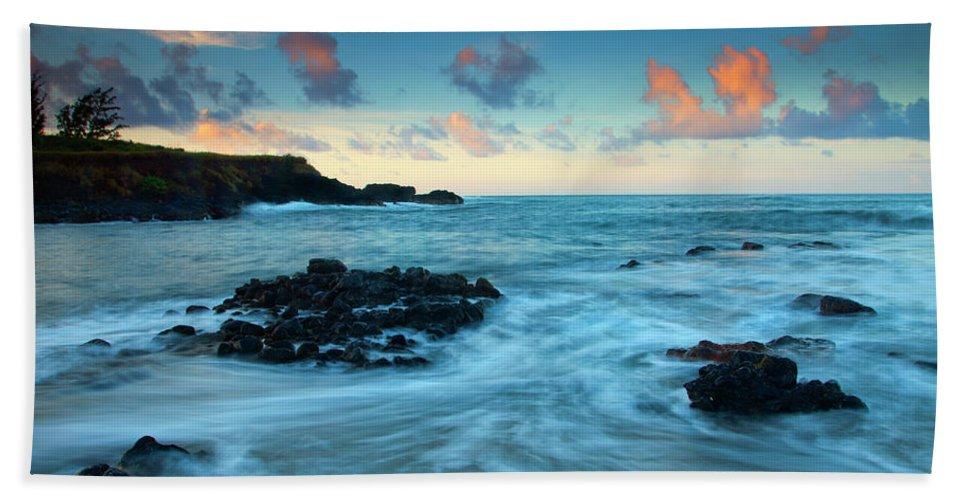 Glass Beach Hand Towel featuring the photograph Glass Beach Dawn by Mike Dawson