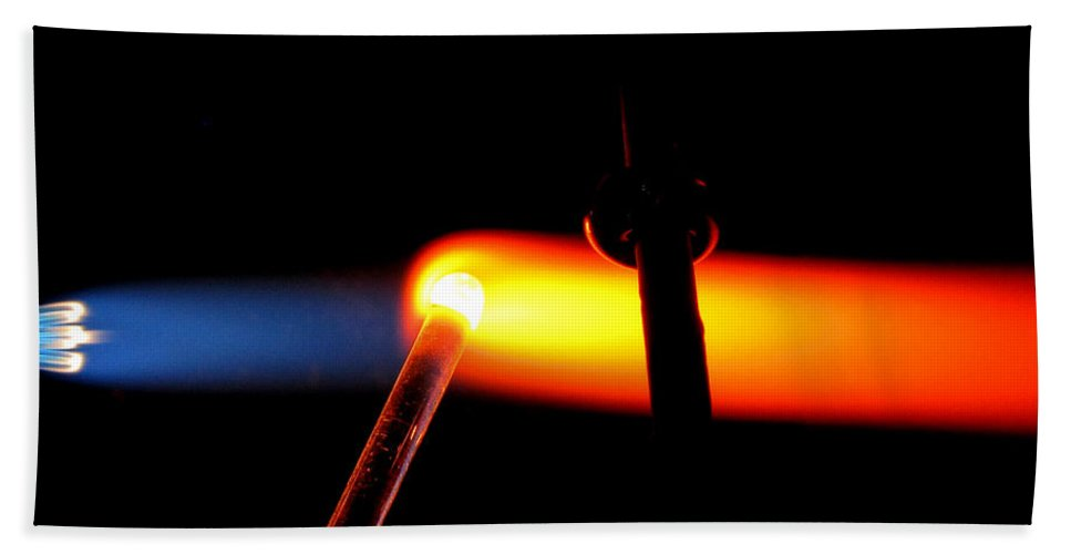 Flame Hand Towel featuring the photograph Glass Bead Making by Sarah Houser