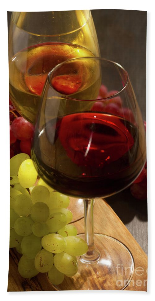 Wine Hand Towel featuring the photograph Red And White Wine by Anastasy Yarmolovich