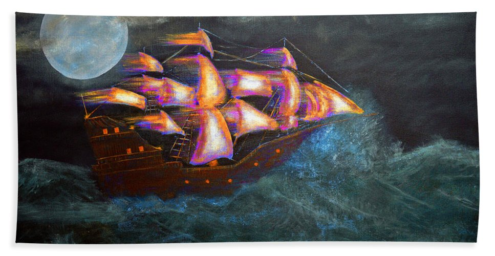 Keys Bath Sheet featuring the painting Pirate Ship by Ken Figurski