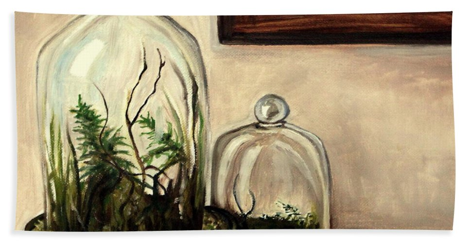 Glass Bath Sheet featuring the painting Glass Terrariums by Elizabeth Robinette Tyndall