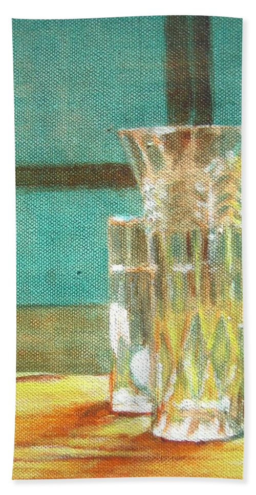 Glass Hand Towel featuring the painting Glass Vase - Still Life by Usha Shantharam