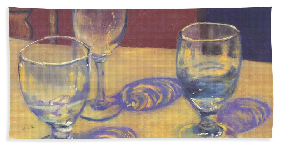 Glasses Bath Towel featuring the painting Glasslights by Sharon E Allen