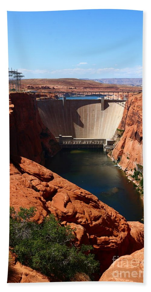 Dam Bath Sheet featuring the photograph Glen Canyon Dam - Arizona by Christiane Schulze Art And Photography