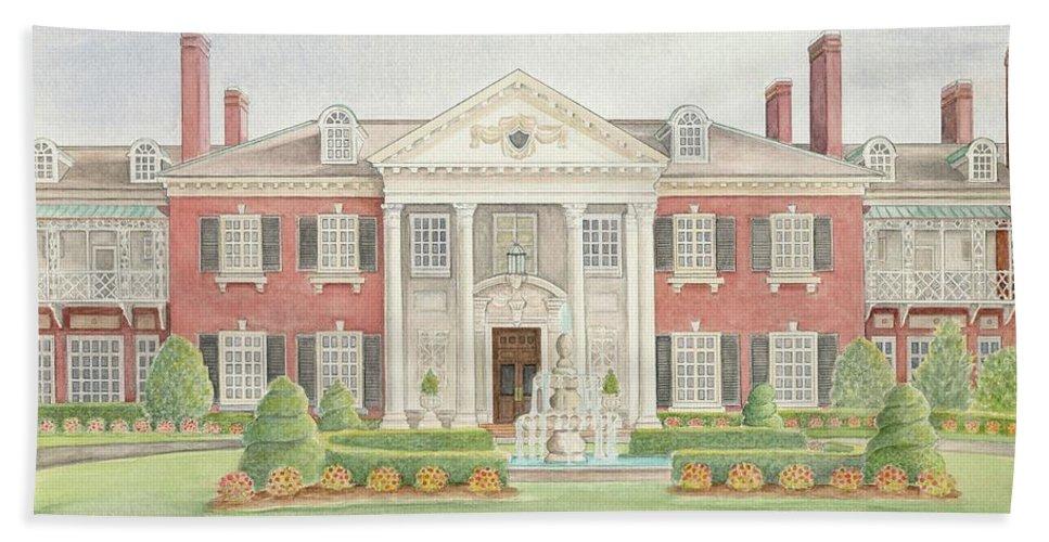 Glen Cove Mansion Bath Sheet featuring the painting Glen Cove Mansion by Joseph Schilling