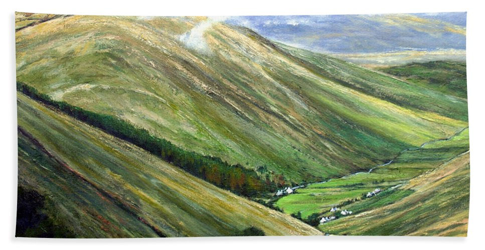Landscapes Hand Towel featuring the painting Glen Gesh Ireland by Jim Gola