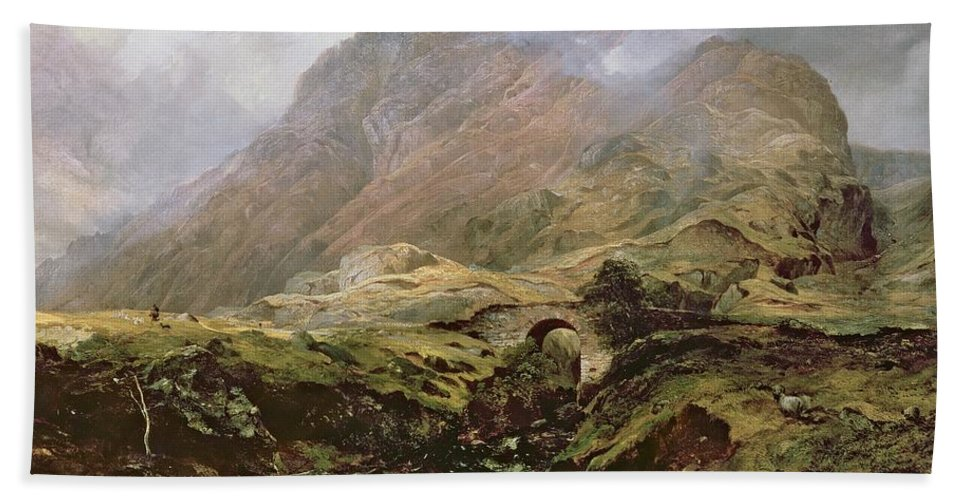 Glencoe Hand Towel featuring the painting Glencoe by Horatio McCulloch