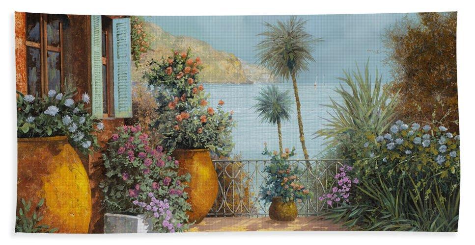 Seascape Hand Towel featuring the painting Gli Otri Sul Terrazzo by Guido Borelli