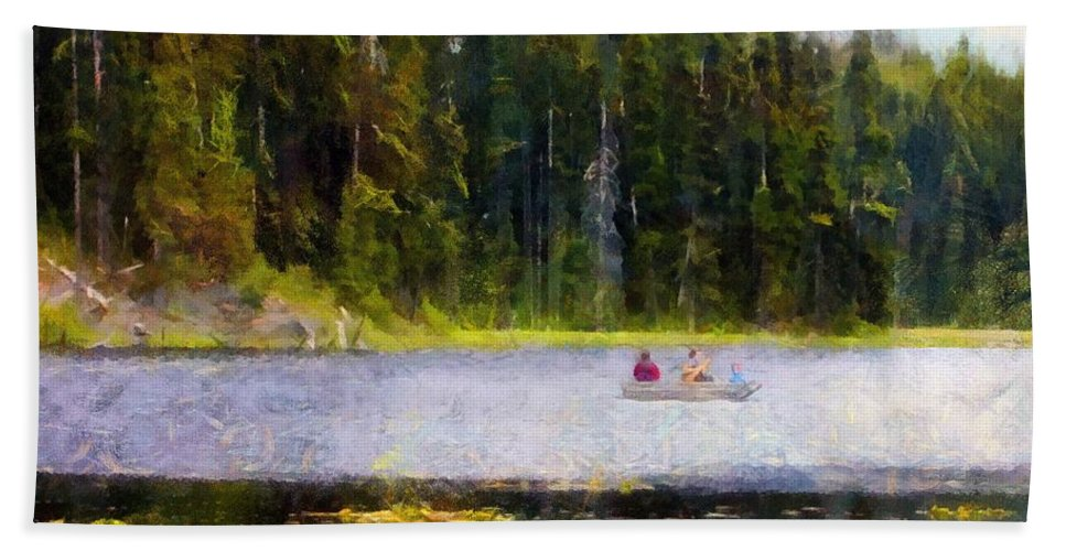 Boating Bath Towel featuring the painting Gliding Along by RC DeWinter
