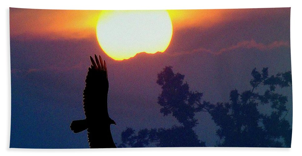 Sunset Bath Sheet featuring the photograph Gliding By The Sun by J R Seymour