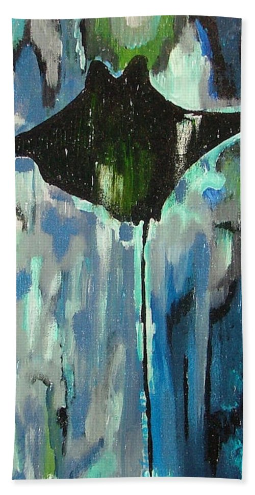 Stingray Hand Towel featuring the painting Gliding Stingray by Heather Lennox