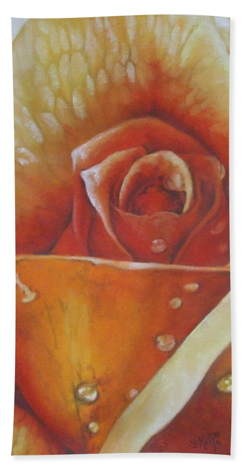Rose Hand Towel featuring the painting Glimmer by Barbara Keith