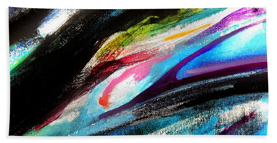 Abstract .feeling Of Water.painting Detail Bath Sheet featuring the painting Glimpse Pink Fish by Expressionistart studio Priscilla Batzell