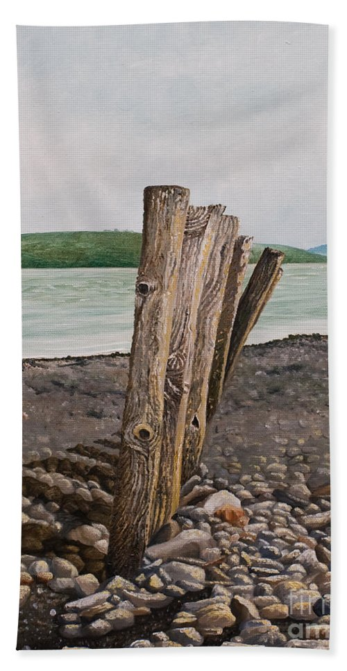 Landscape Beach Stones River Shannon Glin Wood Breakers Clare Shadows Bath Towel featuring the painting Glin Beach Breakers by Pauline Sharp