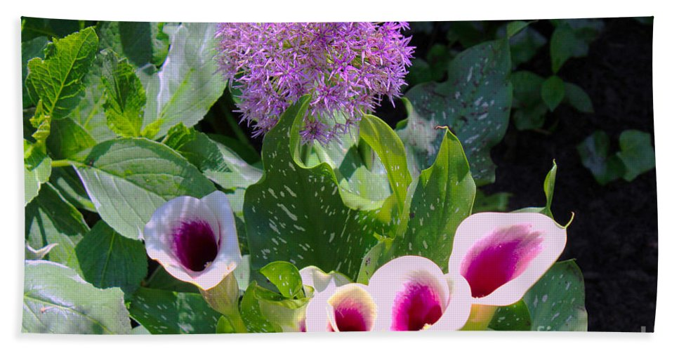 Globe Thistle Bath Sheet featuring the painting Globe Thistle And Calla Lilies by Corey Ford