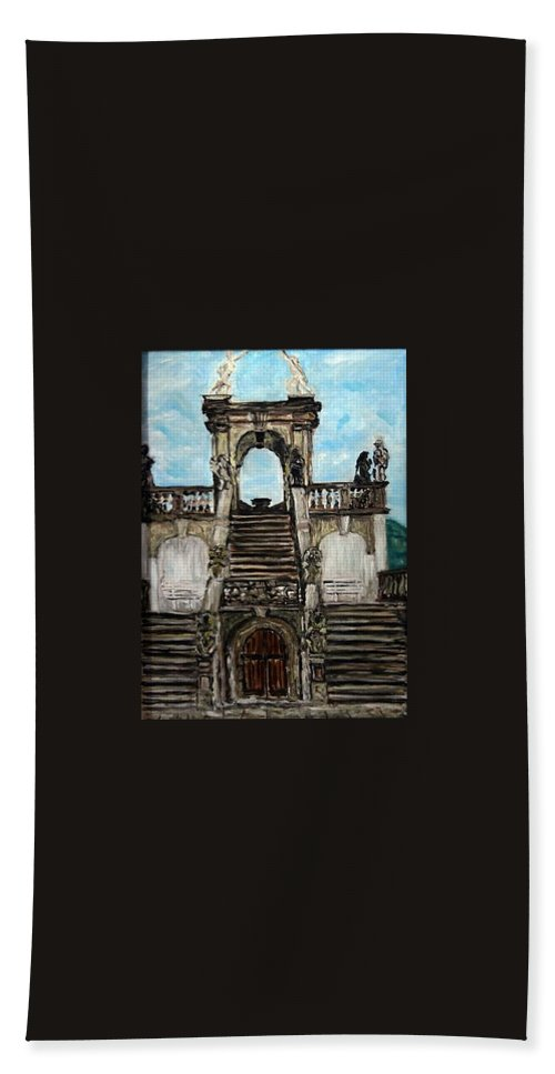 Landscape Bath Towel featuring the painting Gloriet by Pablo de Choros