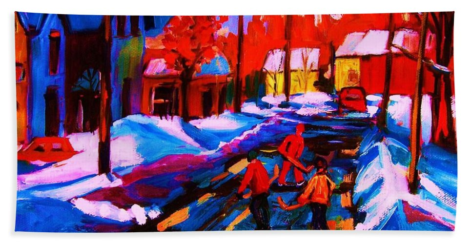 Streethockey Bath Sheet featuring the painting Glorious Day For A Game by Carole Spandau
