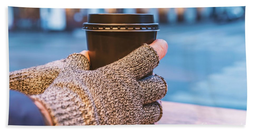 Coffee Bath Sheet featuring the photograph Gloved Hands Holding Coffee Cup by Sophie McAulay