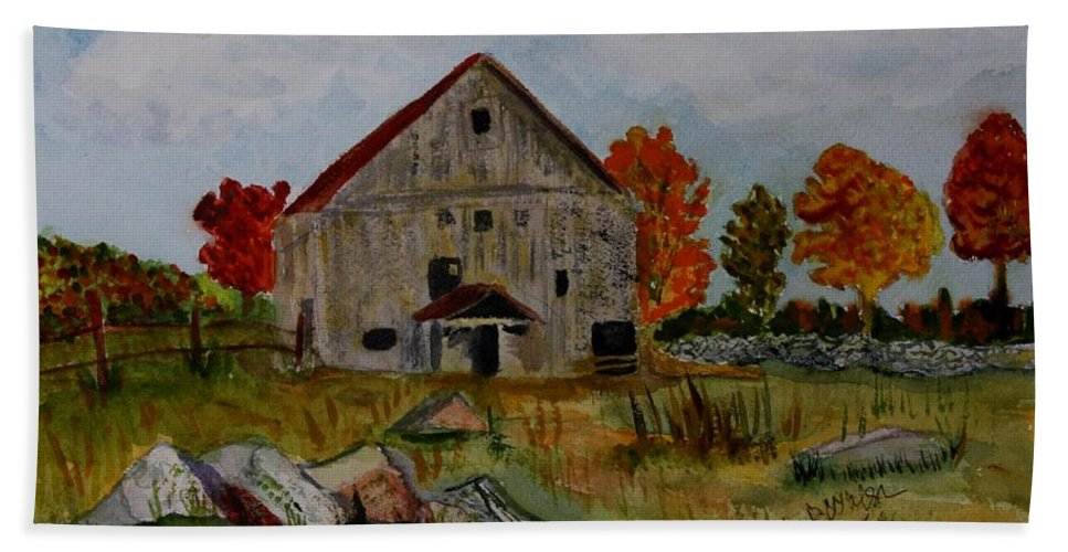 Glover Vt Hand Towel featuring the painting Glover Barn In Autumn by Donna Walsh
