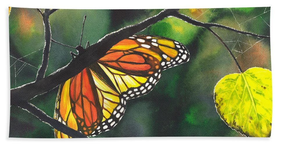Butterfly Bath Towel featuring the painting Glow by Catherine G McElroy