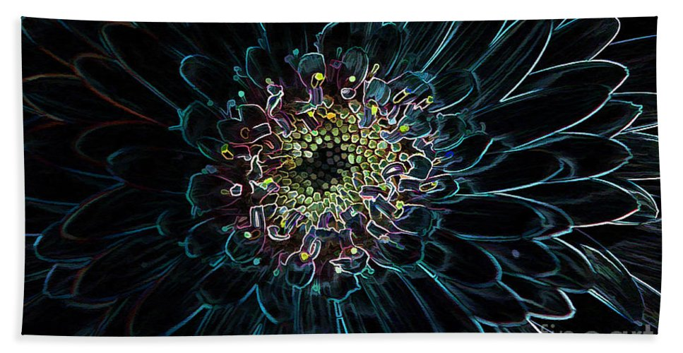 Flower Bath Sheet featuring the photograph Glow Edge Flower by Deborah Benoit