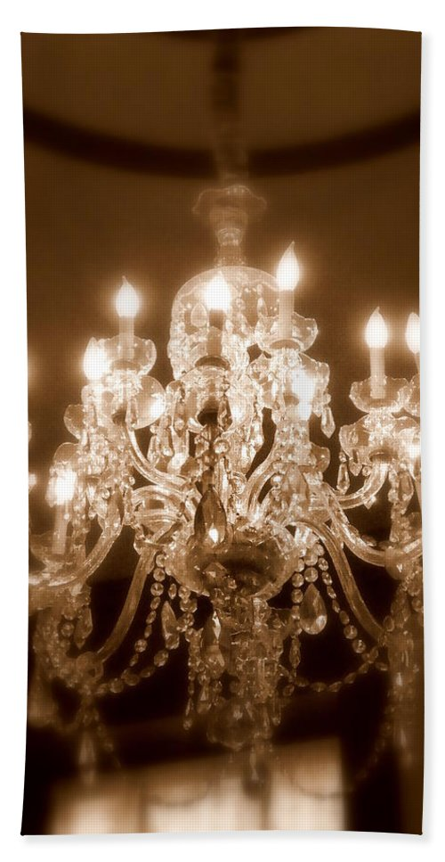 Chandelier Bath Sheet featuring the photograph Glow From The Past by Karen Wiles