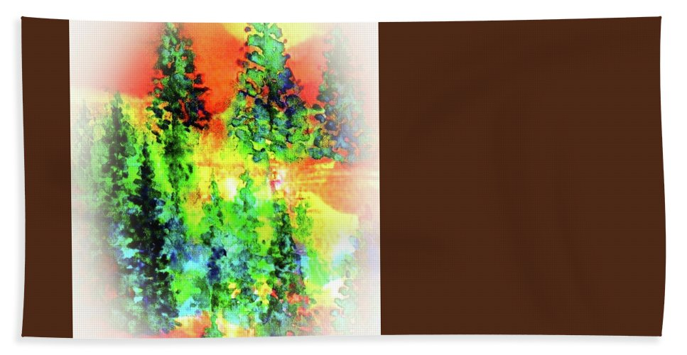 Winter Scene Hand Towel featuring the painting Winter's Glow by Hazel Holland