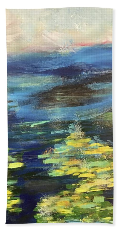 Pond Bath Sheet featuring the painting Glow by Katy Flach