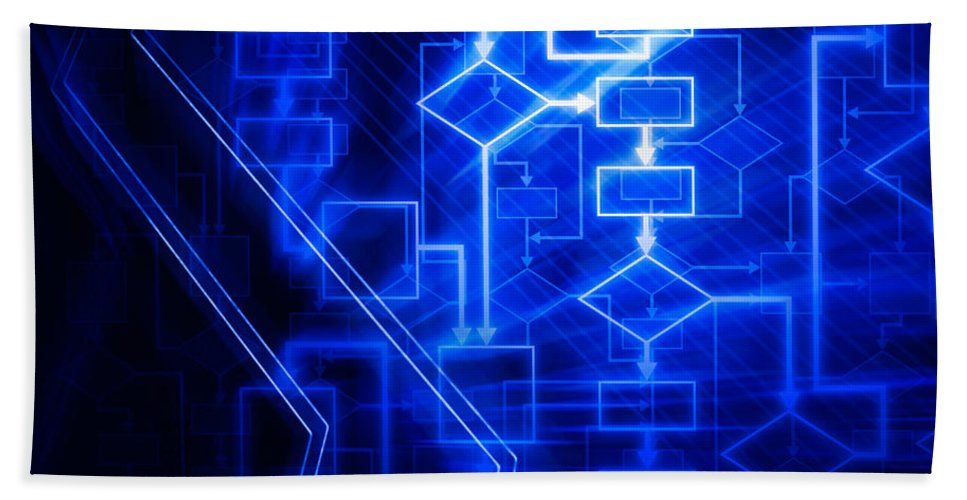 Flowchart Bath Sheet featuring the photograph Glowing Blue Flowchart by Oleksiy Maksymenko