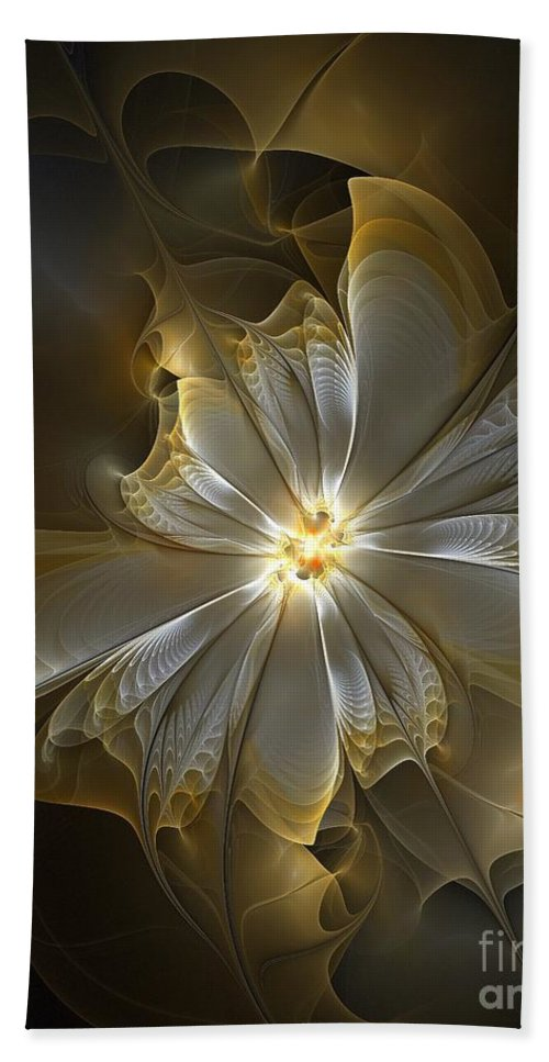 Digital Art Bath Towel featuring the digital art Glowing in Silver and Gold by Amanda Moore