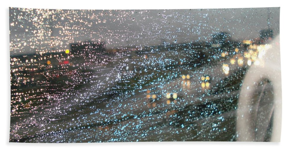 Usha Hand Towel featuring the photograph Glowing Raindrops In The City by Usha Shantharam