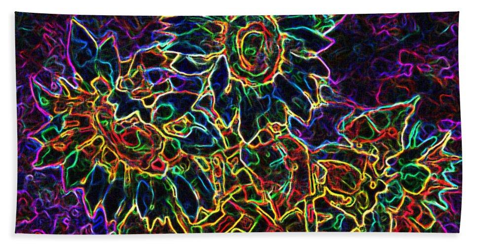 Sunflowers Bath Sheet featuring the digital art Glowing Sunflowers by Iliyan Bozhanov