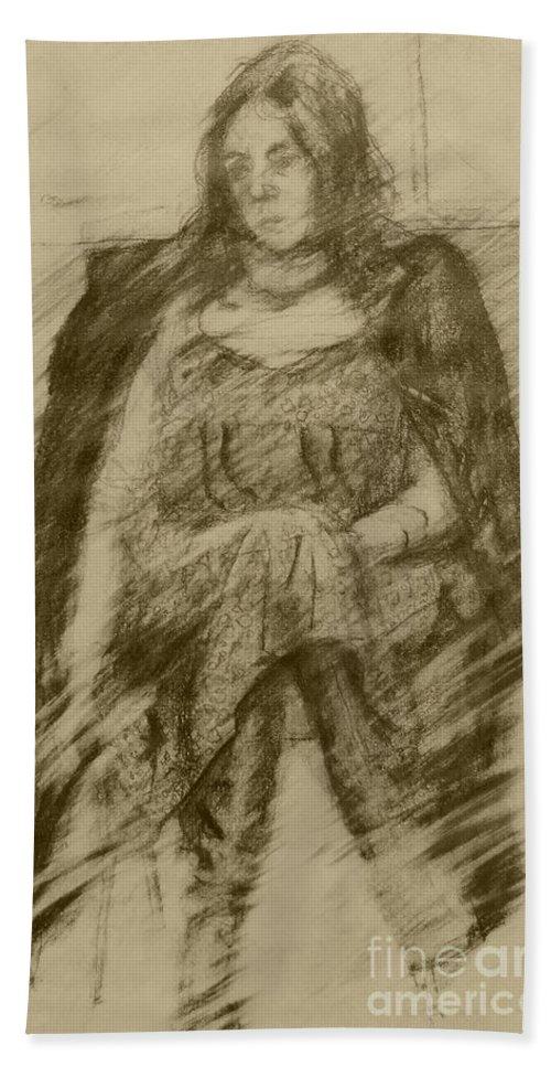 Stephen Bath Sheet featuring the drawing Glum Gillian by Stephen Brooks