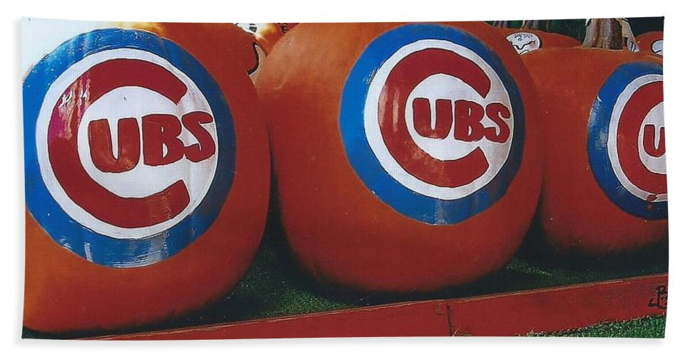 Pumpkins Painted With Cubs Logo Hand Towel featuring the photograph Go Cubs Chicago Celebrates by Jane Butera Borgardt