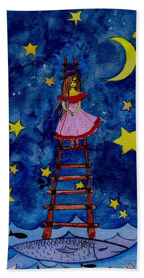 Sky Hand Towel featuring the painting Go Down by Sweeping Girl