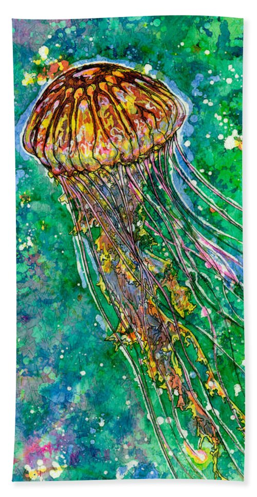 Jellyfish Hand Towel featuring the painting Go With The Flow by Nick Cantrell