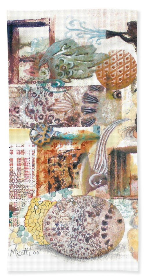 Abstract Hand Towel featuring the painting Go With The Flow by Valerie Meotti