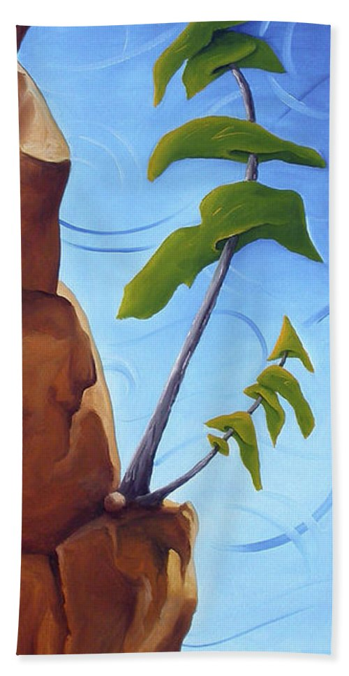 Landscape Hand Towel featuring the painting Goals by Richard Hoedl