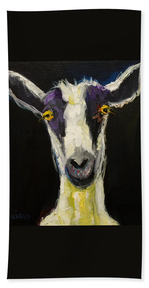 Goat Hand Towel featuring the painting Goat Gloat by Diane Whitehead
