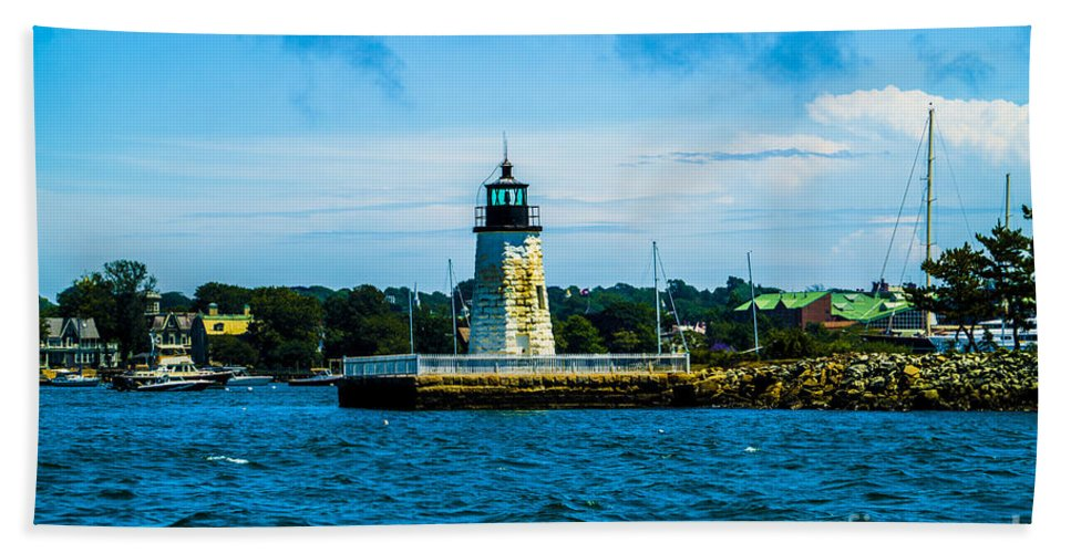 Goat Island Is A Small Island In Narragansett Bay And Is Part Of The City Of Newport Bath Sheet featuring the photograph Goat Island Light House by Jasmin Hrnjic