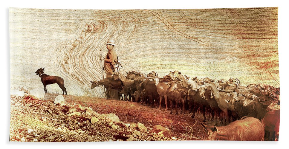 Goats Bath Sheet featuring the photograph Goatherd by Mal Bray