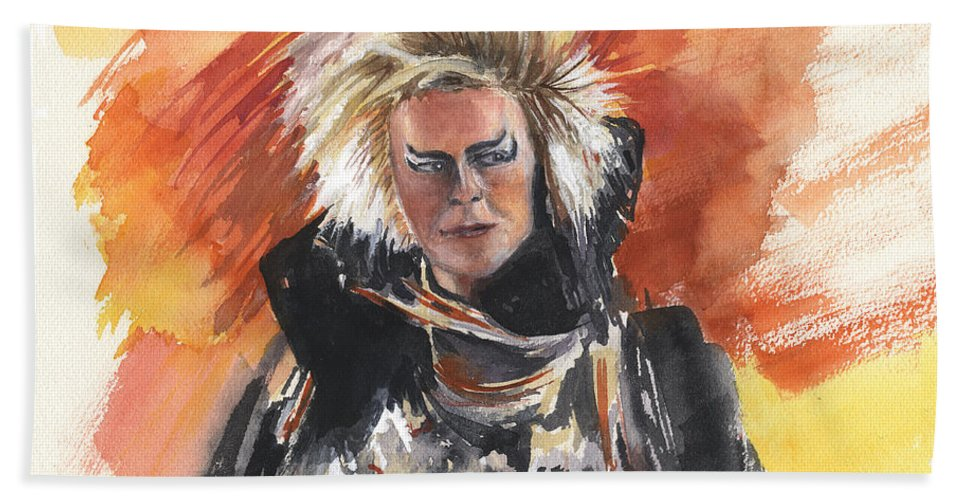 David Bowie Hand Towel featuring the painting Goblin King At His Best by Kathy Sievering