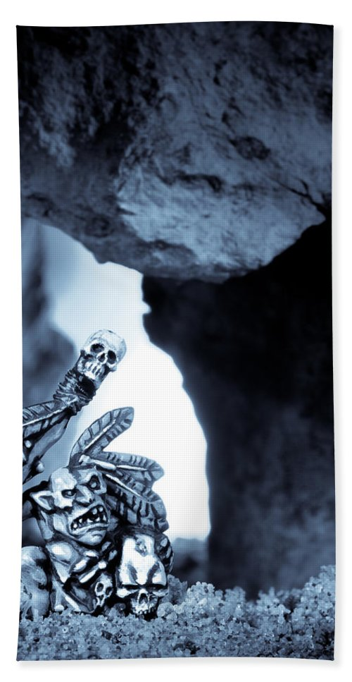 Cave Hand Towel featuring the photograph Goblin Shaman by Marc Garrido