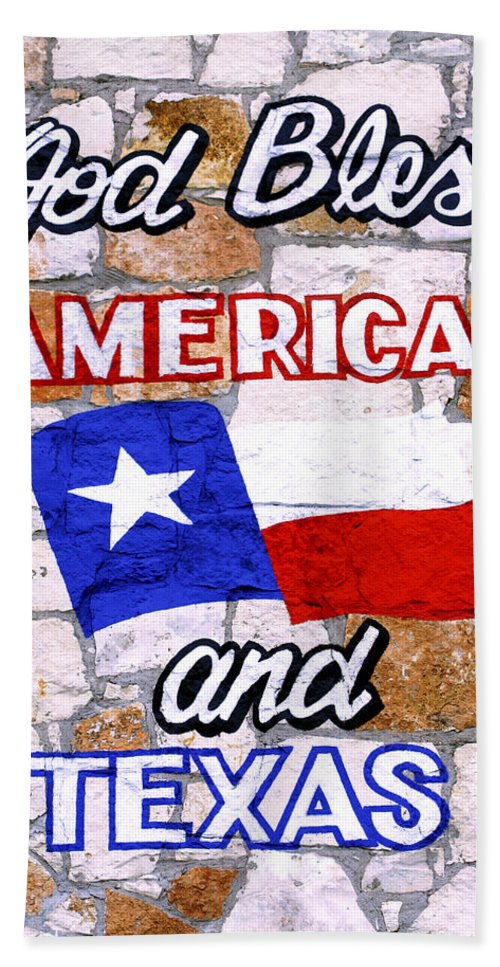 Americana Bath Sheet featuring the photograph God Bless America And Texas 2 by Marilyn Hunt
