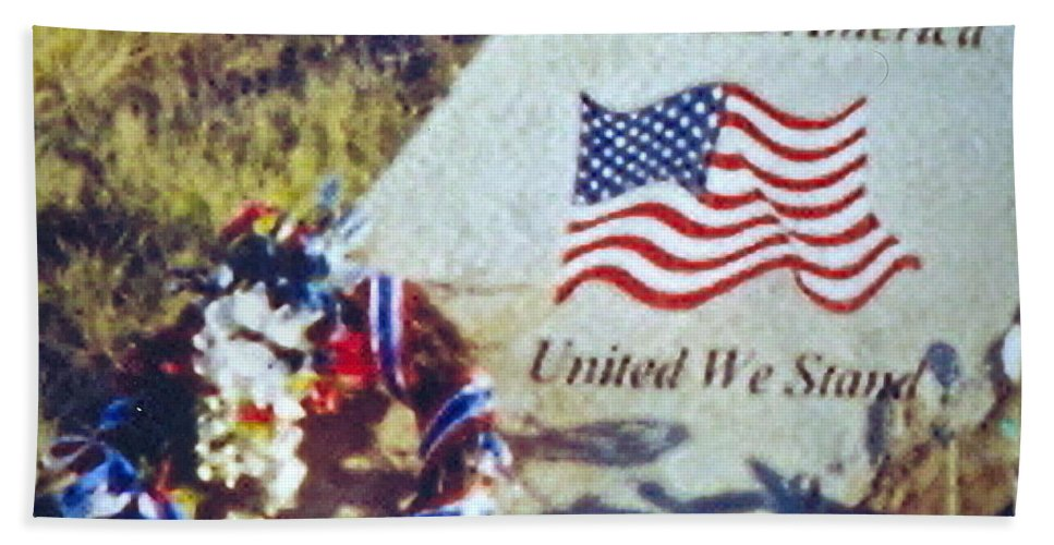 Flight 93 Victims Photograph Bath Sheet featuring the photograph God Bless America by Penny Neimiller