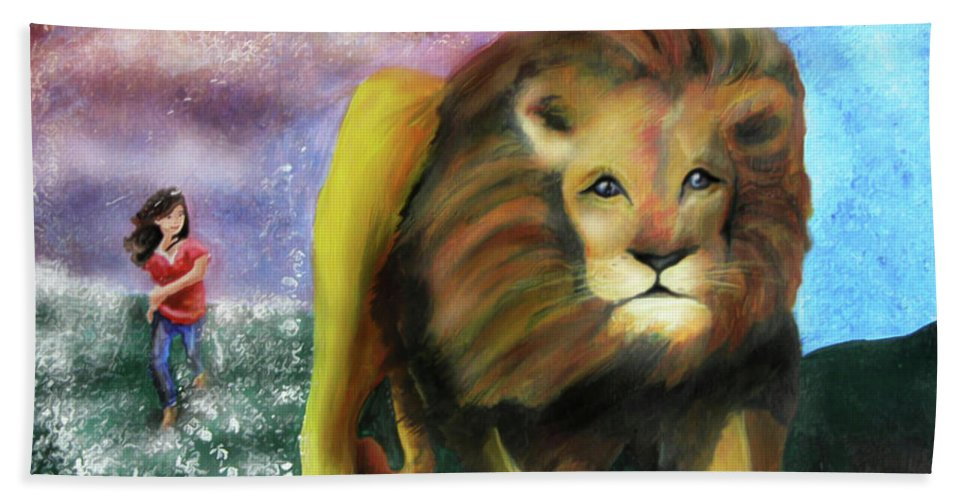 Jennifer Page Bath Sheet featuring the painting God Chaser by Jennifer Page